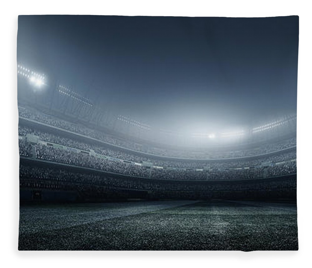 Soccer Uniform Fleece Blanket featuring the photograph Soccer Player With Ball In Stadium by Dmytro Aksonov