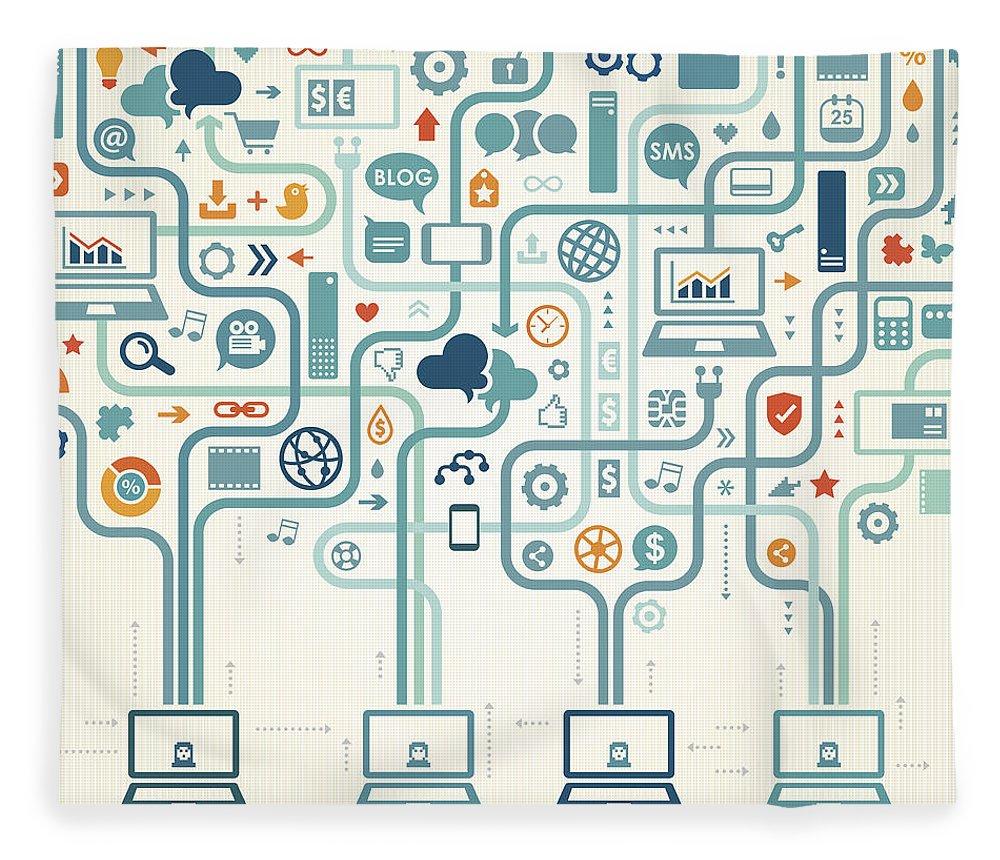 Internet Fleece Blanket featuring the digital art Social Media Gathering by Drafter123