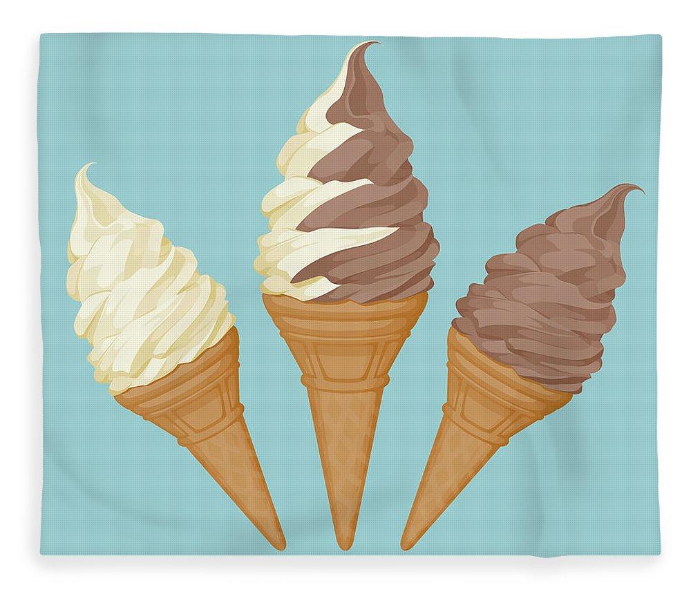 Vanilla Fleece Blanket featuring the digital art Soft Ice Cream Cone by Saemilee
