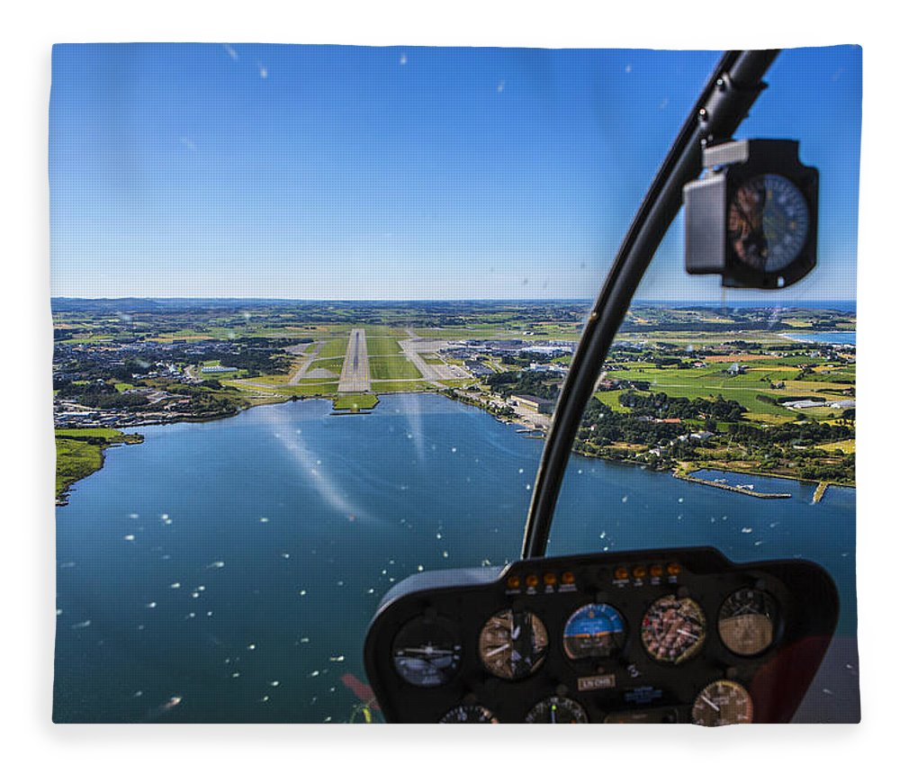 Water's Edge Fleece Blanket featuring the photograph Sola And Sola Airport, Aerial Shot by Sindre Ellingsen