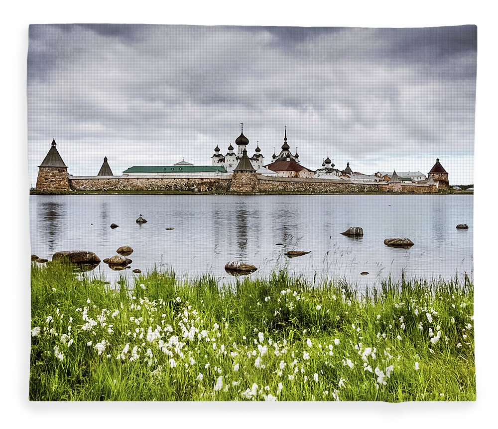 Grass Fleece Blanket featuring the photograph Solovetsky Monastery At Holy Lake by Mordolff