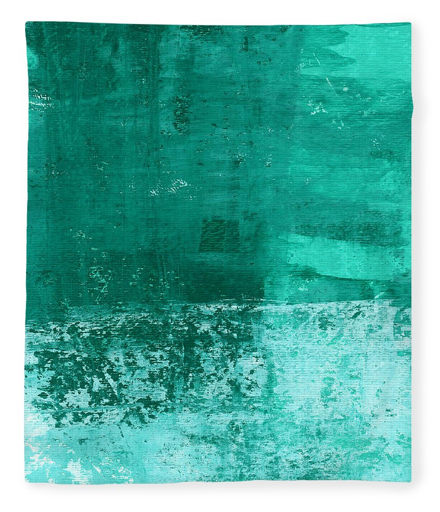 Abstract Art Fleece Blanket featuring the painting Soothing Sea - Abstract Painting by Linda Woods