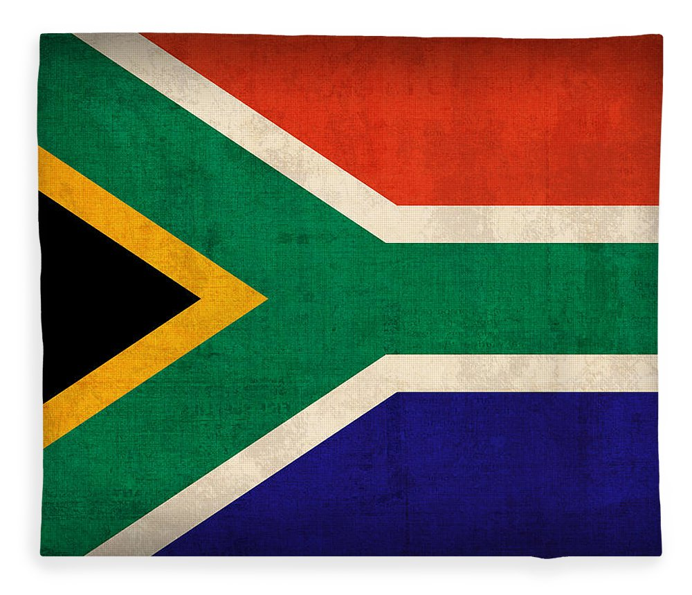 South Africa Flag Vintage Distressed Finish Fleece Blanket featuring the mixed media South Africa Flag Vintage Distressed Finish by Design Turnpike