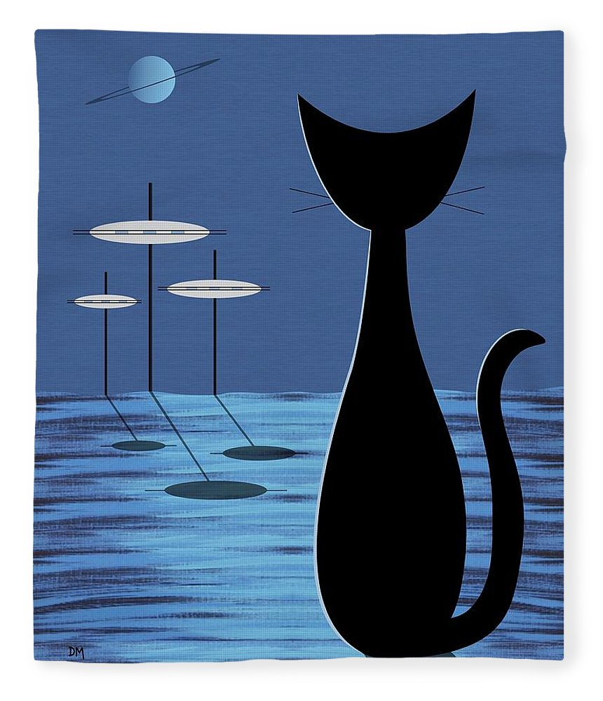 Mid Century Modern Fleece Blanket featuring the digital art Space Cat In Blue by Donna Mibus