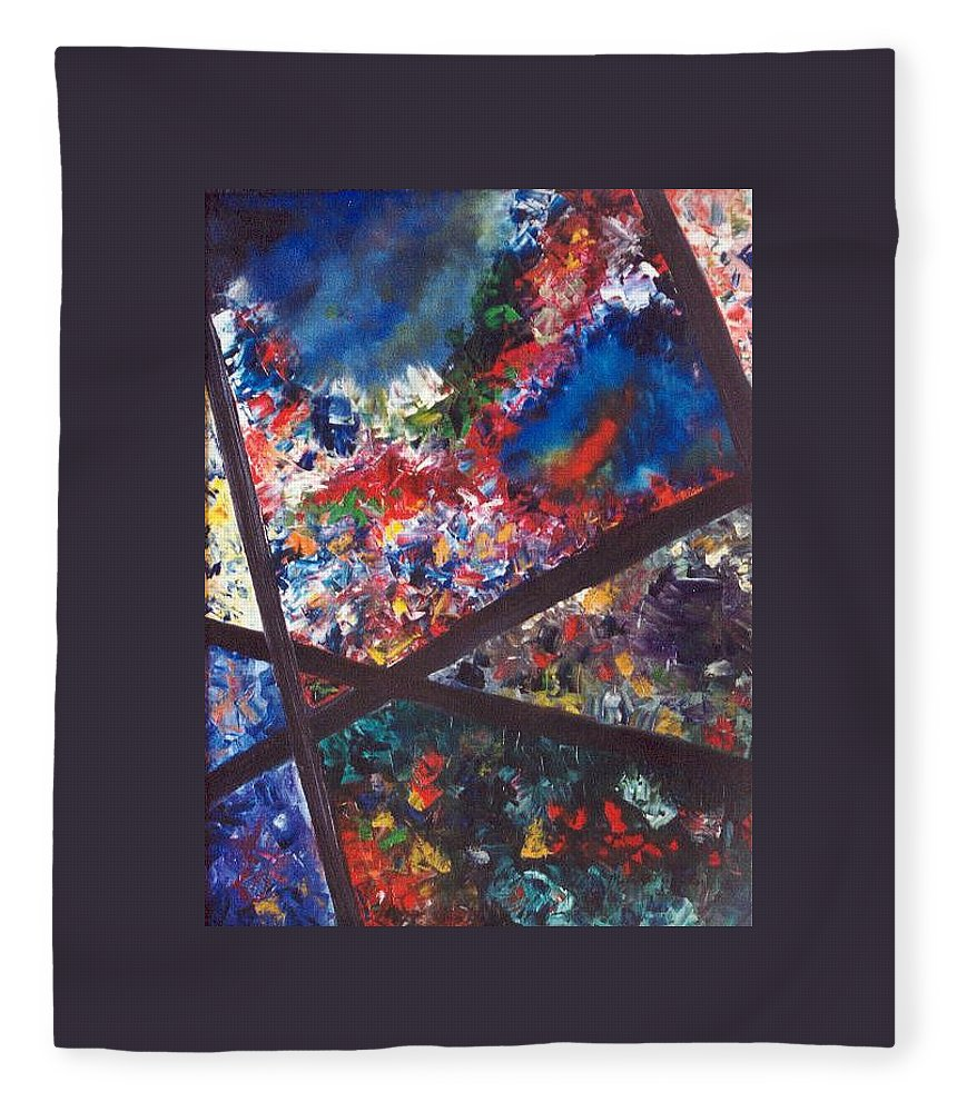 Abstract Fleece Blanket featuring the painting Spectral Chaos by Micah Guenther