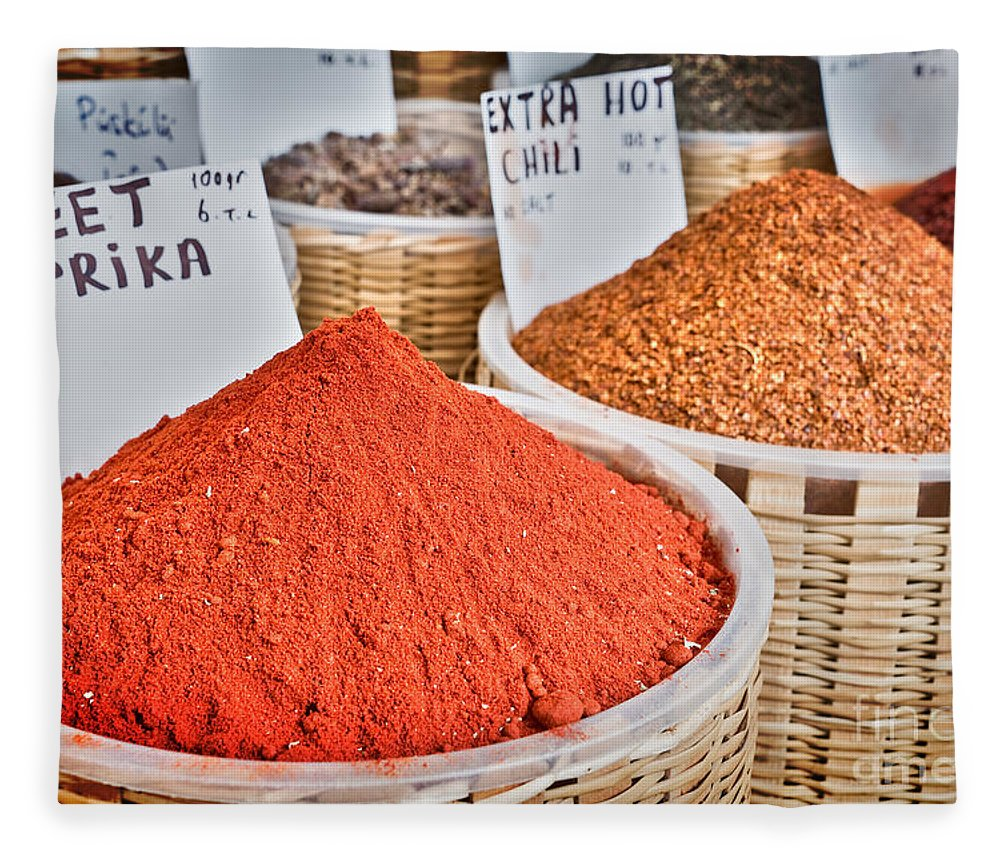 Spices Fleece Blanket featuring the photograph Spice Market by Delphimages Photo Creations