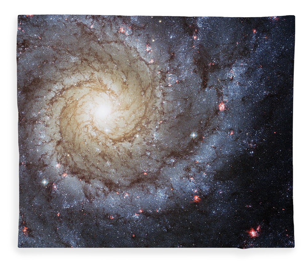 3scape Fleece Blanket featuring the photograph Spiral Galaxy M74 by Adam Romanowicz
