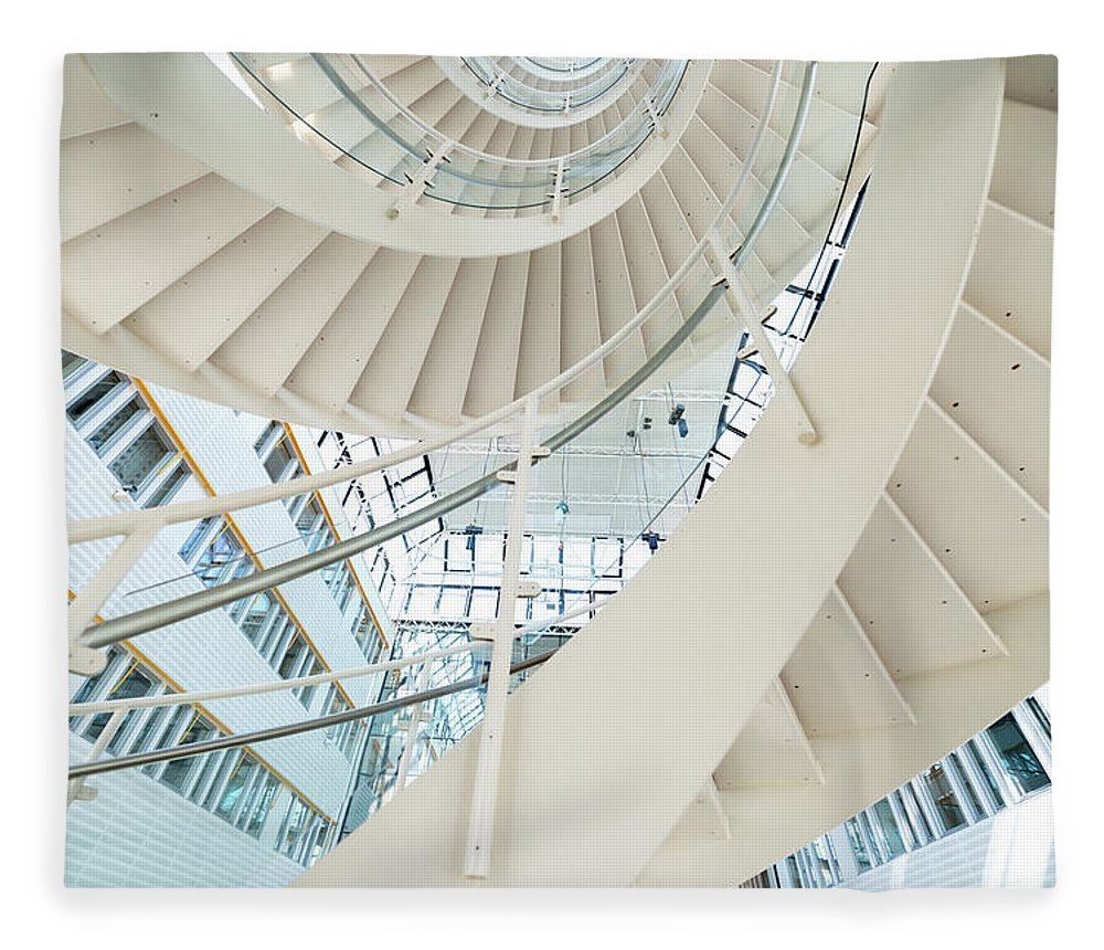 Steps Fleece Blanket featuring the photograph Spiral Staircase Inside Office Complex by Blurra