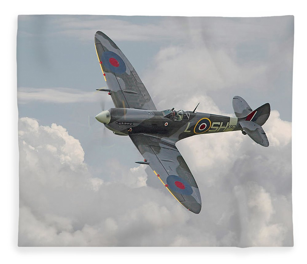 Aircraft Fleece Blanket featuring the digital art Spitfire - Elegant Icon by Pat Speirs