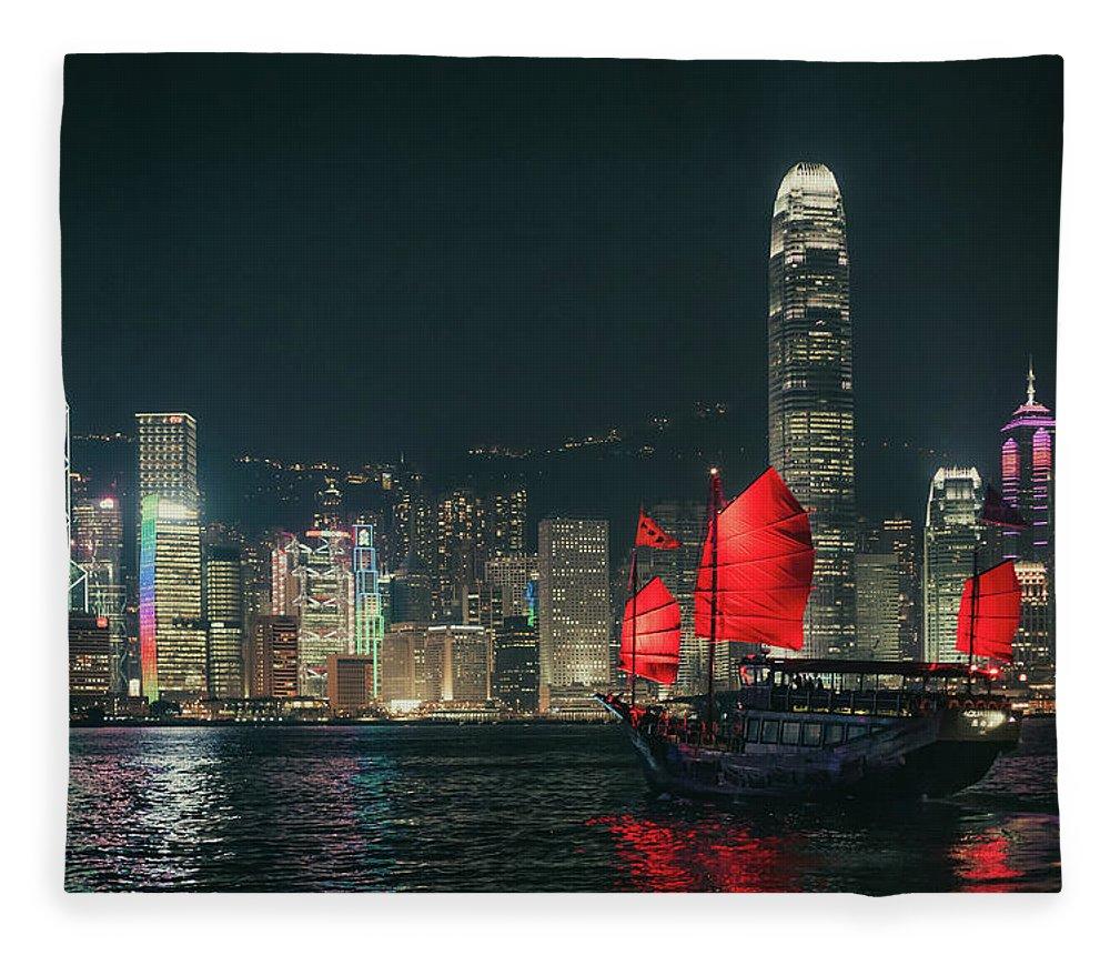Outdoors Fleece Blanket featuring the photograph Splendid Asian City, Hong Kong by D3sign