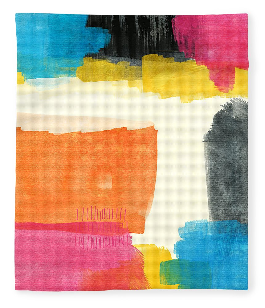 Spring Fleece Blanket featuring the painting Spring Forward- Colorful Abstract Painting by Linda Woods