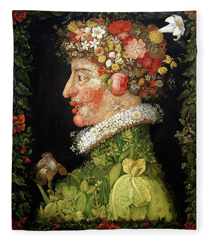 Arcimboldo Fleece Blanket featuring the painting Spring, From A Series Depicting The Four Seasons by Giuseppe Arcimboldo