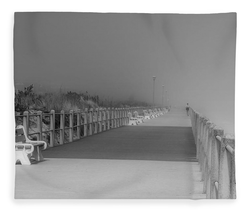 Jersey Shore Fleece Blanket featuring the photograph Spring Lake Boardwalk - Jersey Shore by Angie Tirado