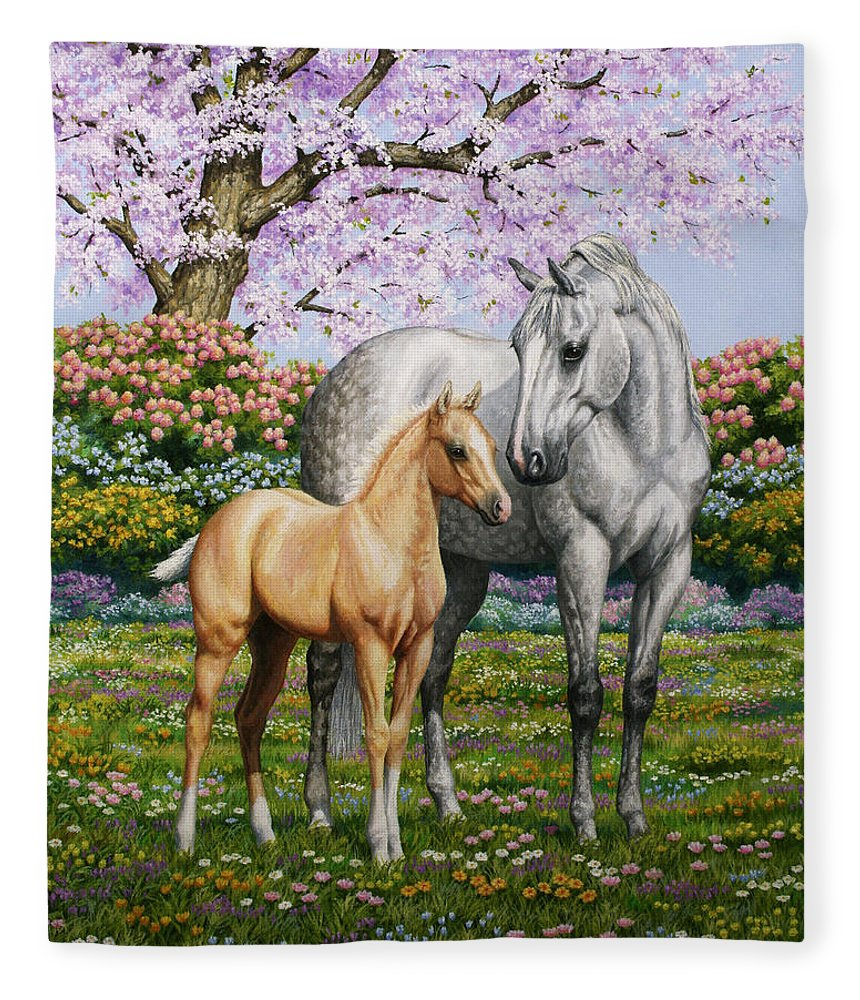 Horse Fleece Blanket featuring the painting Spring's Gift - Mare and Foal by Crista Forest