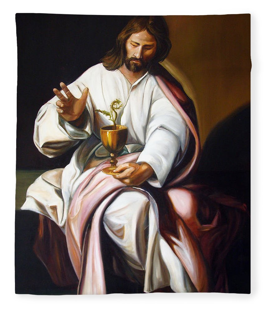 Classic Art Fleece Blanket featuring the painting St John The Evangelist by Silvana Abel