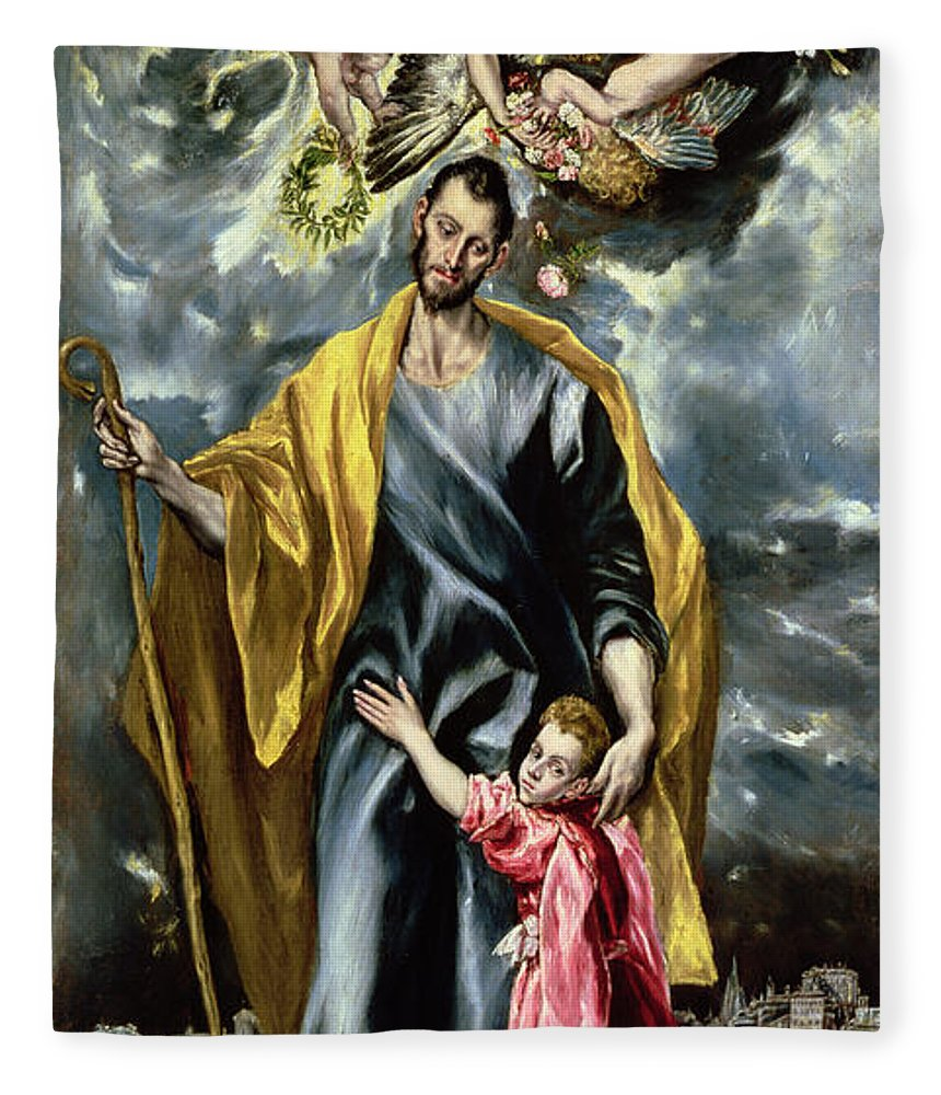 El Greco Fleece Blanket featuring the painting Saint Joseph And The Christ Child by El Greco