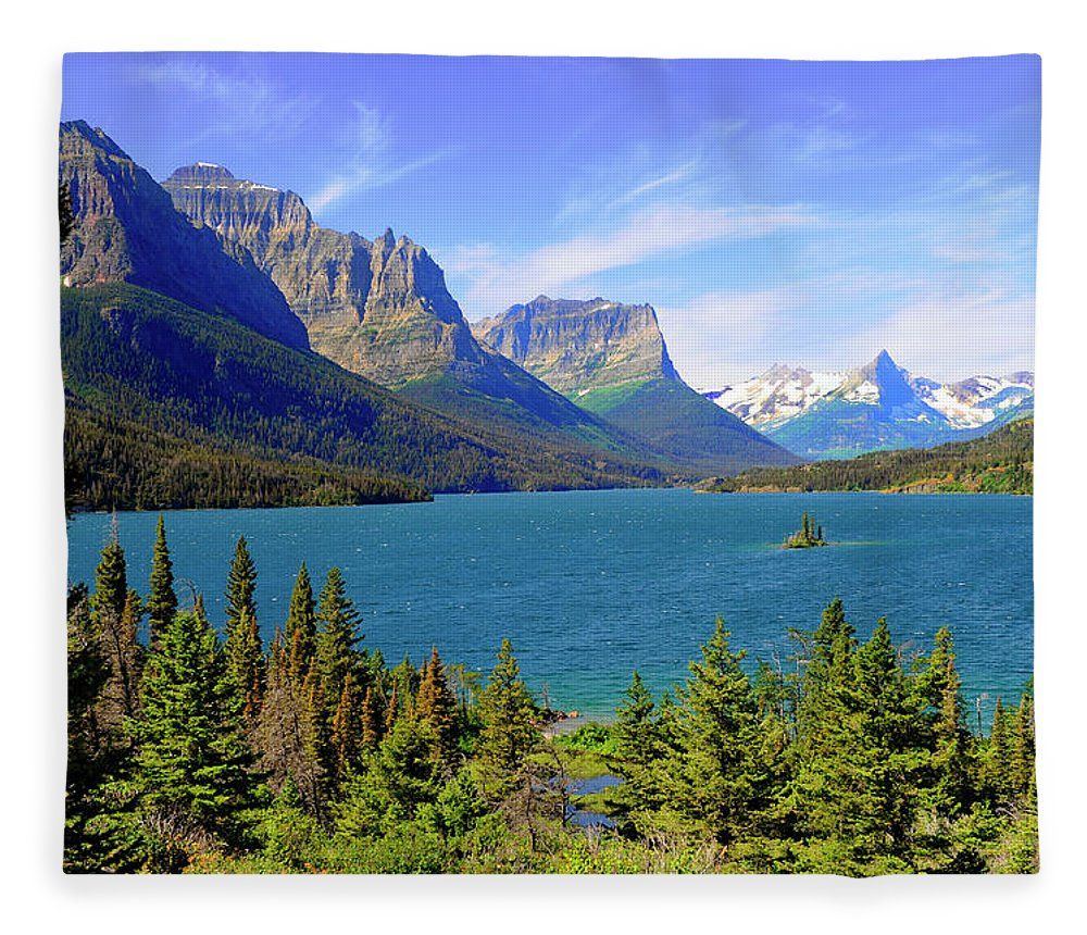 Scenics Fleece Blanket featuring the photograph St. Mary Lake, Glacier National Park by Dennis Macdonald
