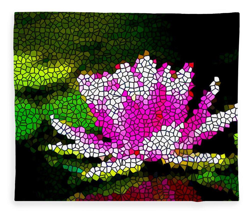 Stained glass pink lotus flower fleece blanket for sale by jeelan clark stained glass pink lotus flower fleece blanket featuring the painting stained glass pink lotus flower by izmirmasajfo