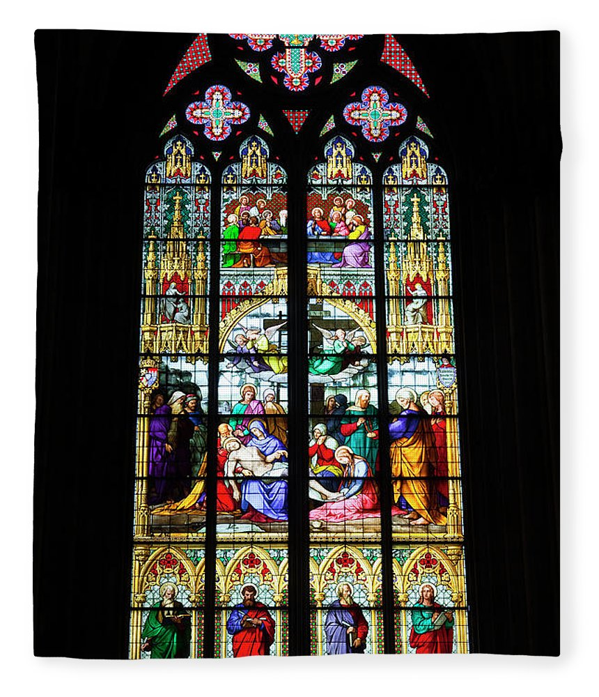 Gothic Style Fleece Blanket featuring the photograph Stained Glass Window In Cologne by Julian Elliott Photography
