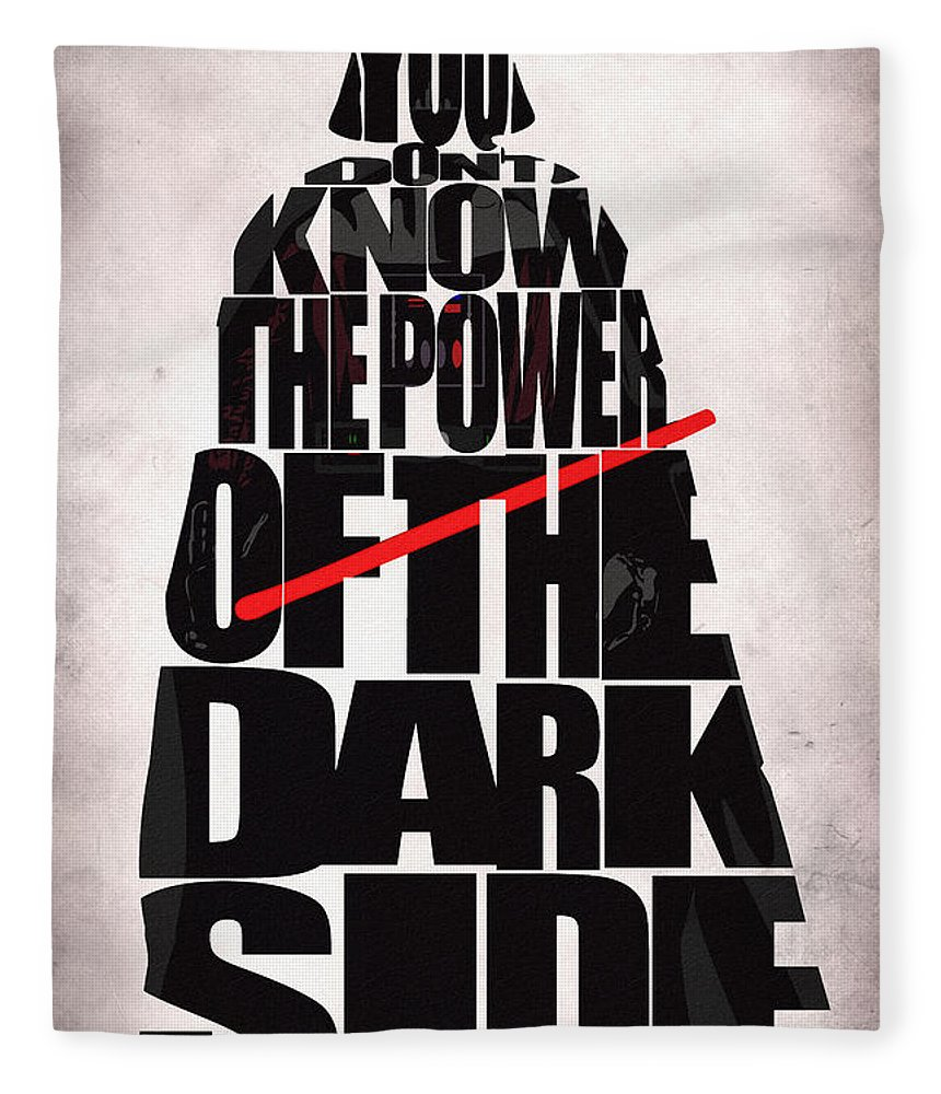 Darth Vader Fleece Blanket featuring the digital art Star Wars Inspired Darth Vader Artwork by Inspirowl Design