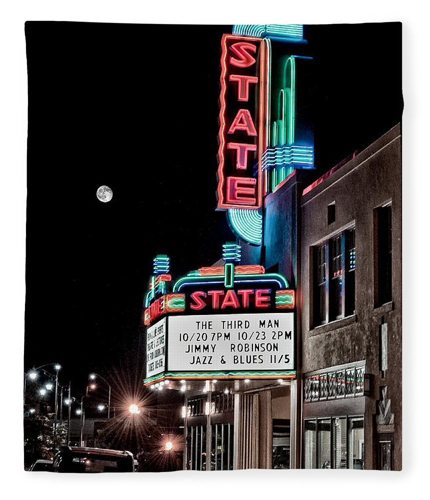 Hdr Fleece Blanket featuring the photograph State Theater by Jim Thompson