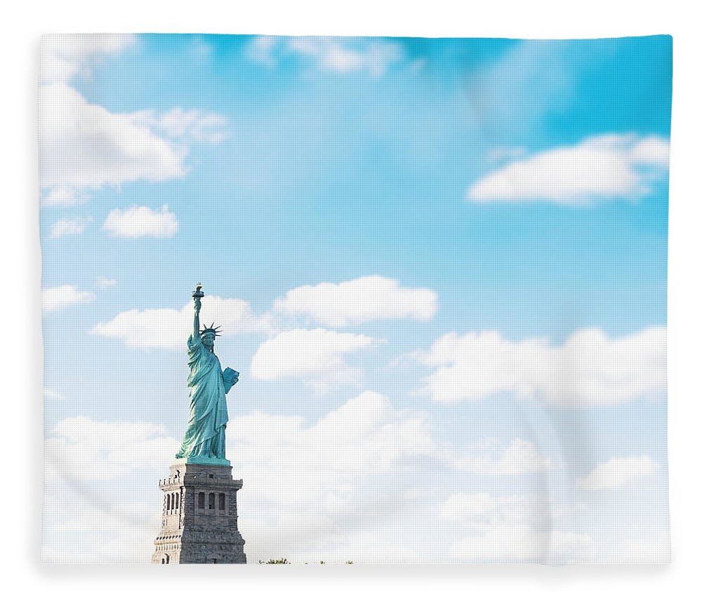 Lower Manhattan Fleece Blanket featuring the photograph Statue Of Liberty On New York City by Franckreporter