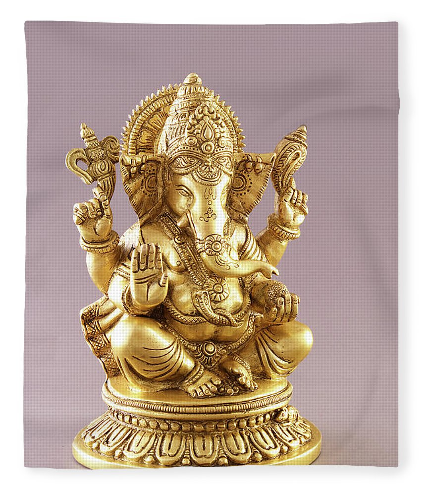 Spirituality Fleece Blanket featuring the photograph Statue Of Lord Ganesh by Visage