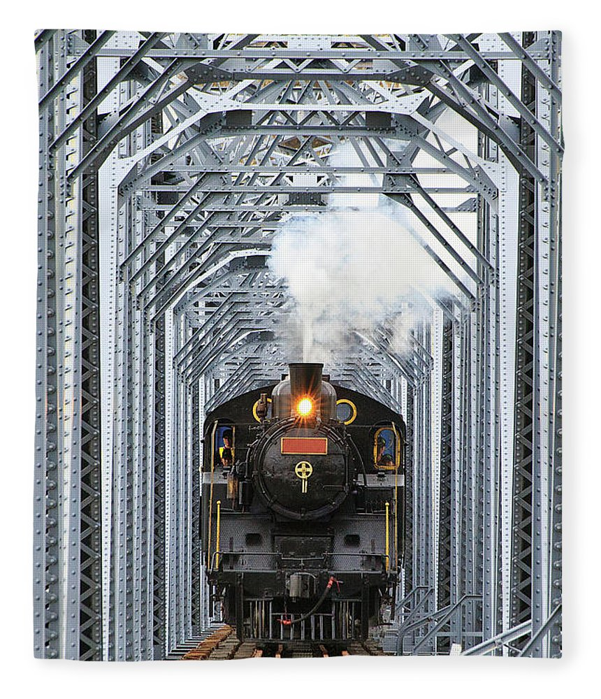 Air Pollution Fleece Blanket featuring the photograph Steam Train by Peter Hong