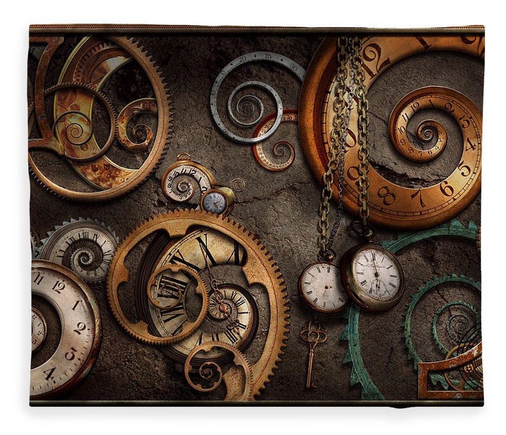 Steampunk Fleece Blanket featuring the photograph Steampunk - Abstract - Time Is Complicated by Mike Savad