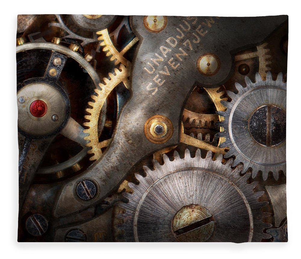 Steampunk Fleece Blanket featuring the photograph Steampunk - Gears - Horology by Mike Savad