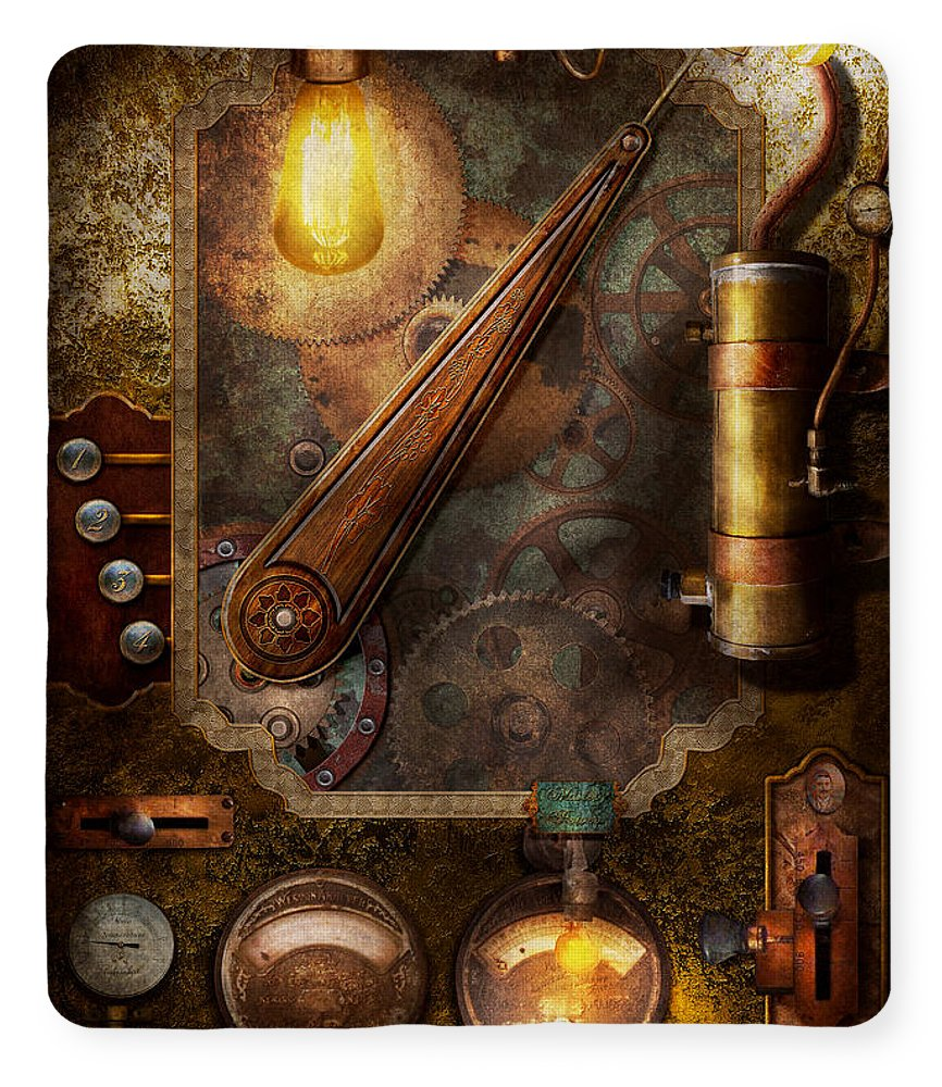 Steampunk - Victorian fuse box Fleece Blanket for Sale by Mike SavadPixels