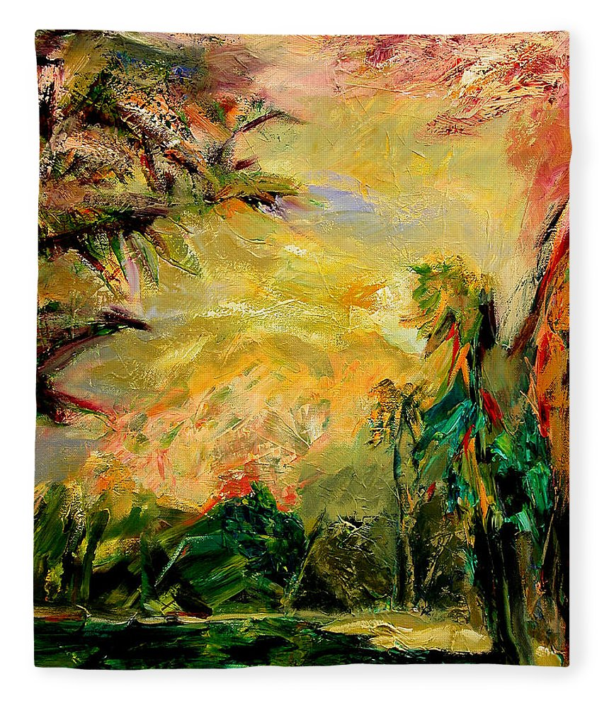 Tropical Paintings Fleece Blanket featuring the painting Steamy Cove by Julianne Felton