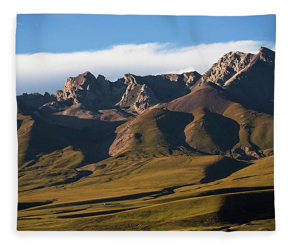 Scenics Fleece Blanket featuring the photograph Steppe Valley With Surrounding Peaks by Merten Snijders