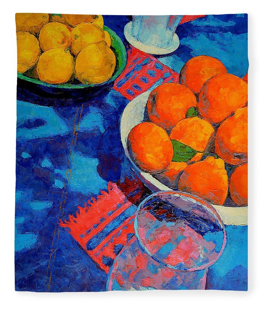 Still Life Fleece Blanket featuring the painting Still Life 2 by Iliyan Bozhanov