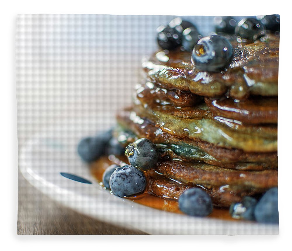 Unhealthy Eating Fleece Blanket featuring the photograph Still Life Of Blueberry Pancakes With by Matt Walford