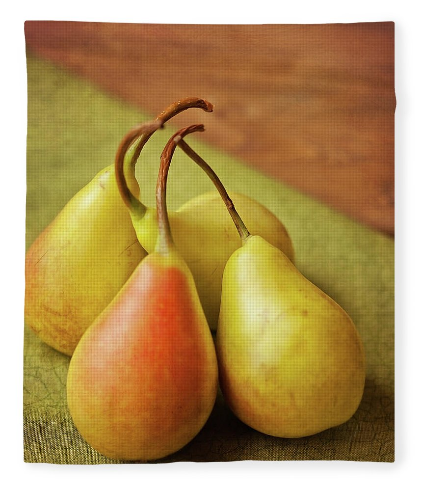 Wood Fleece Blanket featuring the photograph Still Life Of Pears by Carol Yepes