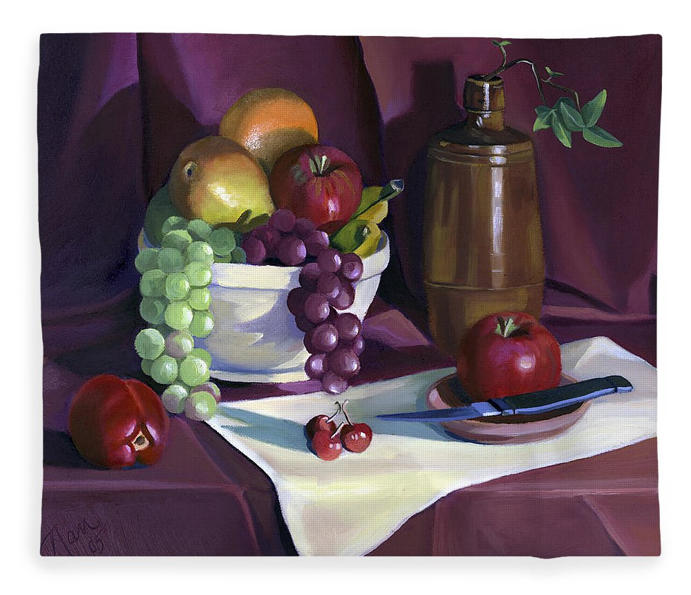 Fine Art Fleece Blanket featuring the painting Still Life with Apples by Nancy Griswold