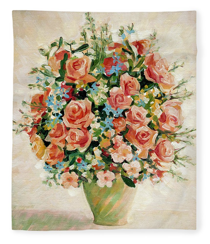 Flowers Fleece Blanket featuring the painting Still Life with Roses by Iliyan Bozhanov