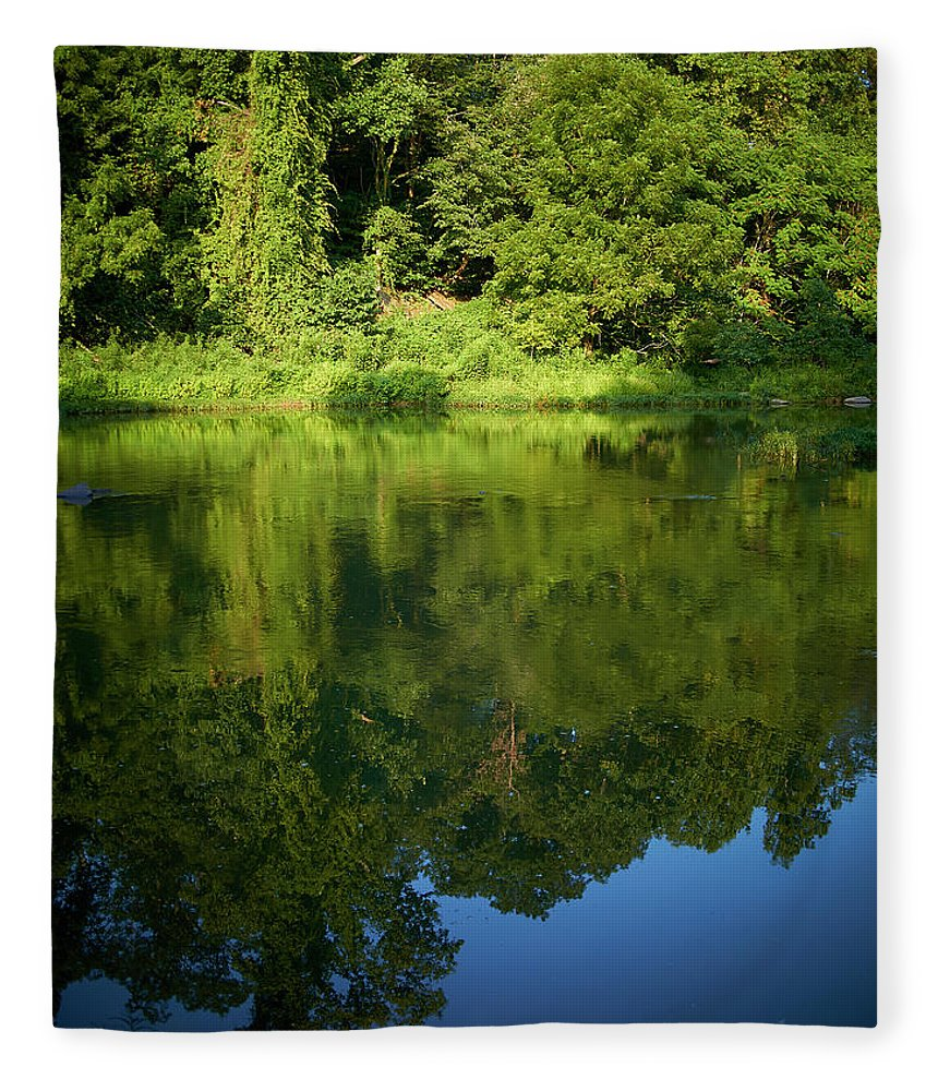 Tranquility Fleece Blanket featuring the photograph Still Water On The Potomac River by Cameron Davidson