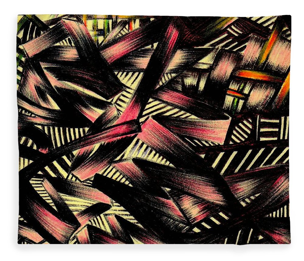 Abstract Fleece Blanket featuring the photograph Stitched by Artist RiA
