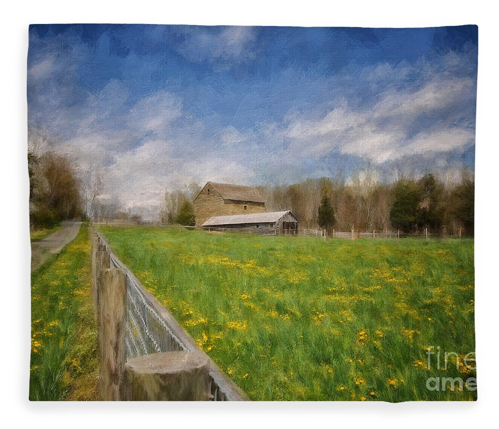 Barn Fleece Blanket featuring the digital art Stone Barn On A Spring Morning by Lois Bryan