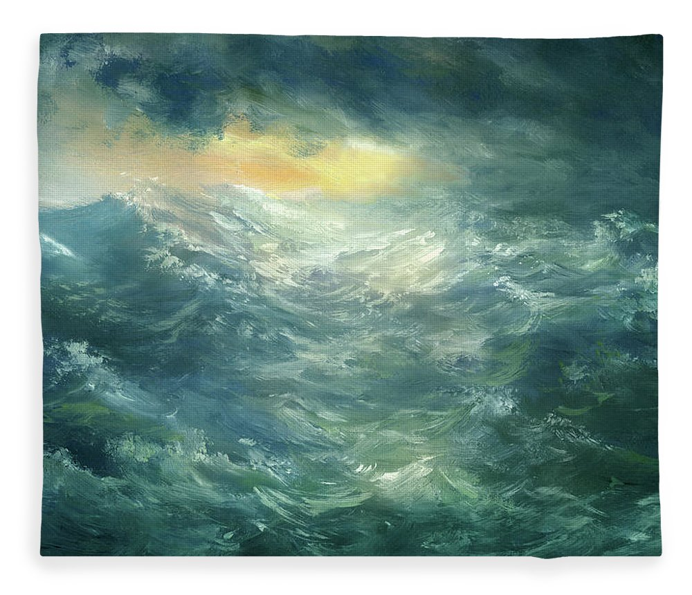 Scenics Fleece Blanket featuring the digital art Storm Is Coming by Pobytov