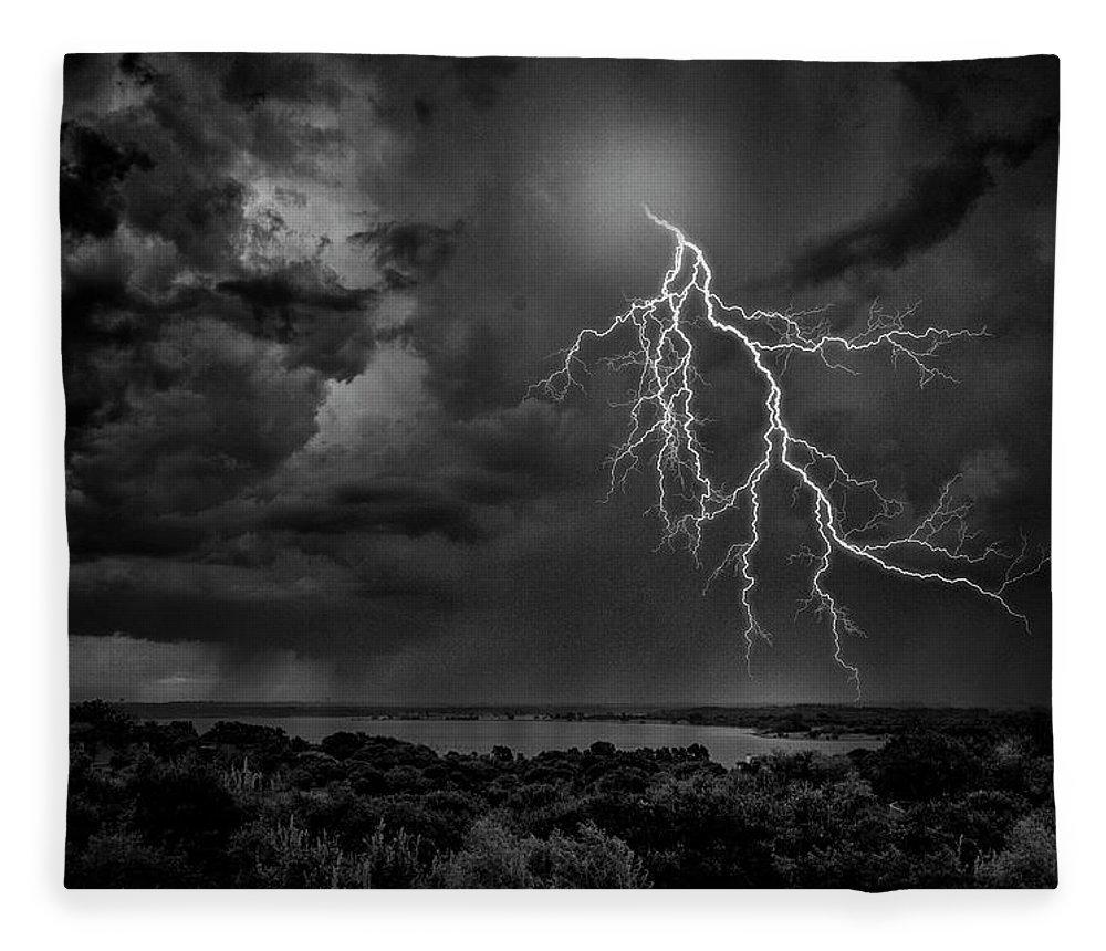 Outdoors Fleece Blanket featuring the photograph Storm Over Benbrook Lake by Dean Fikar