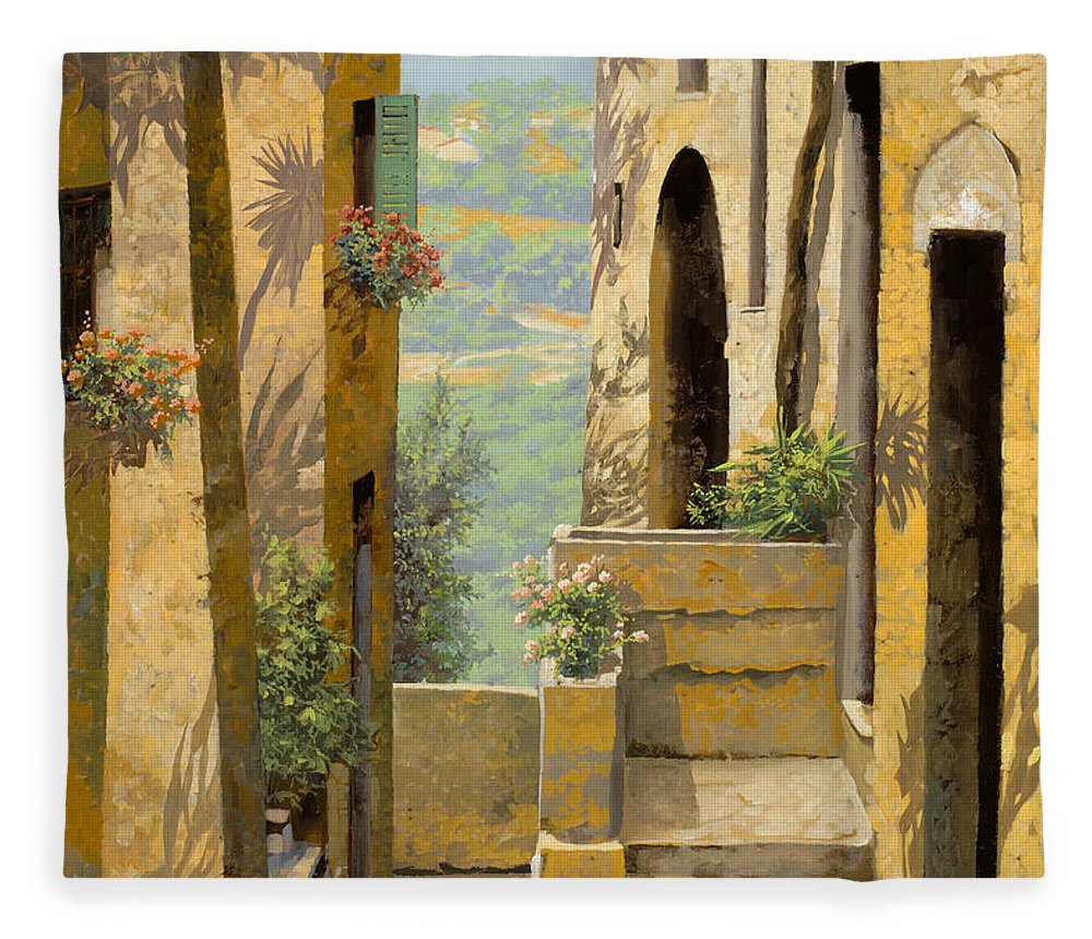 Landscape Fleece Blanket featuring the painting stradina a St Paul de Vence by Guido Borelli