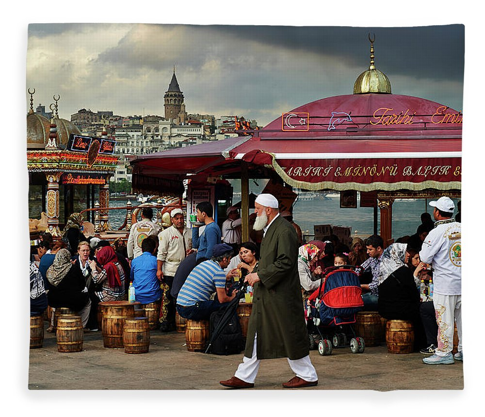 Istanbul Fleece Blanket featuring the photograph Street Food On The Golden Horn, Istanbul by Andrea Pistolesi