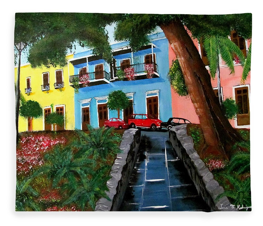 Old San Juan Fleece Blanket featuring the painting Street Hill In Old San Juan by Luis F Rodriguez