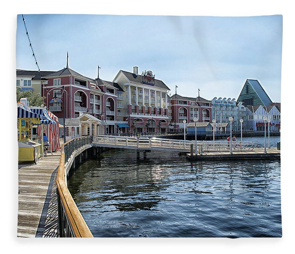 Boardwalk Fleece Blanket featuring the photograph Strolling On The Boardwalk At Disney World by Thomas Woolworth
