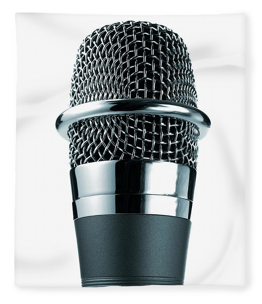 White Background Fleece Blanket featuring the photograph Studio Shot Of Microphone On White by David Arky