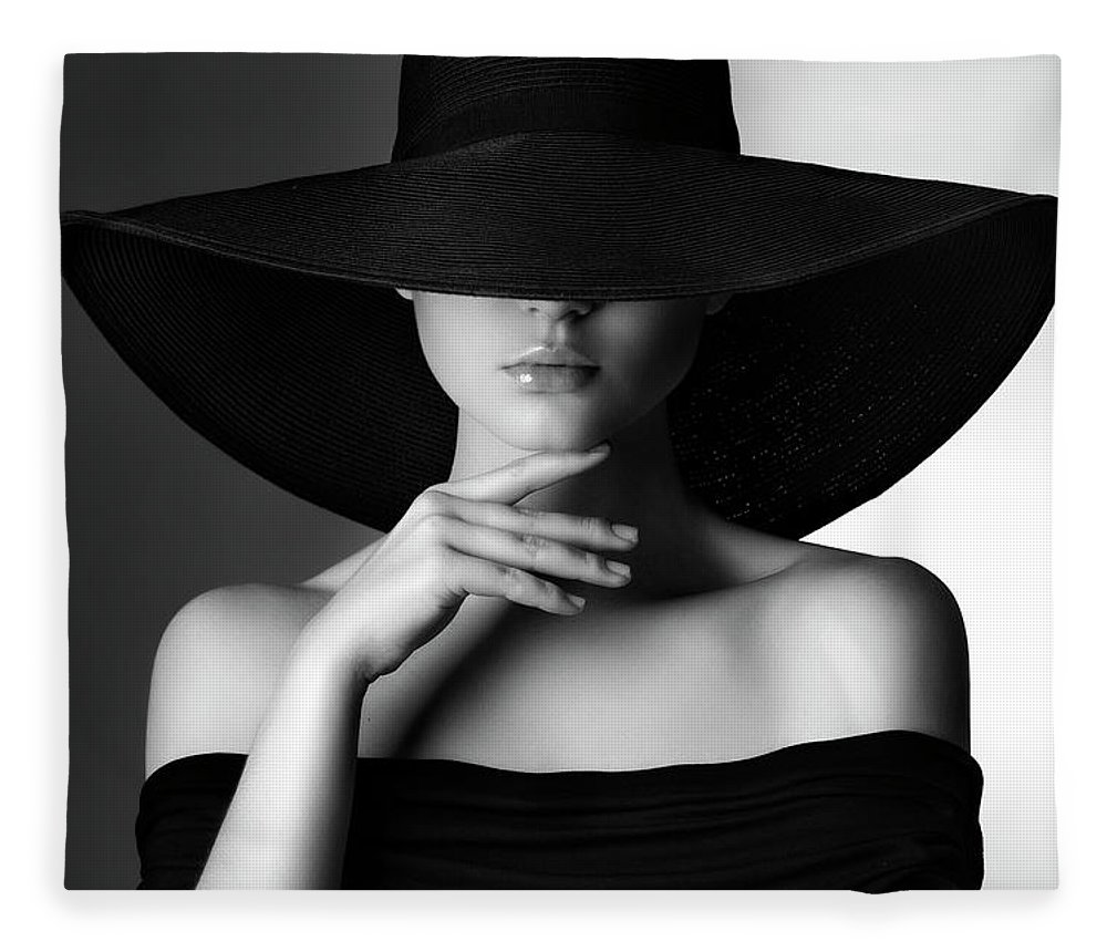 Cool Attitude Fleece Blanket featuring the photograph Studio Shot Of Young Beautiful Woman by Coffeeandmilk