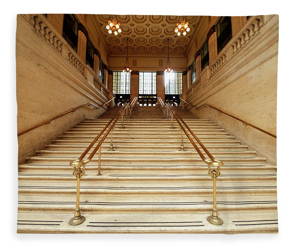 Steps Fleece Blanket featuring the photograph Subway Station Staircase,chicago by Lisa-blue